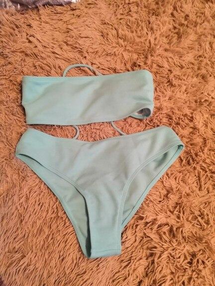 2020 New Bikini High Waist Strapless Sexy Bikini Women Swimwear Women Swimsuit Padded Bathing Suit Monokin Pure Color|Bikini Set|   - AliExpress