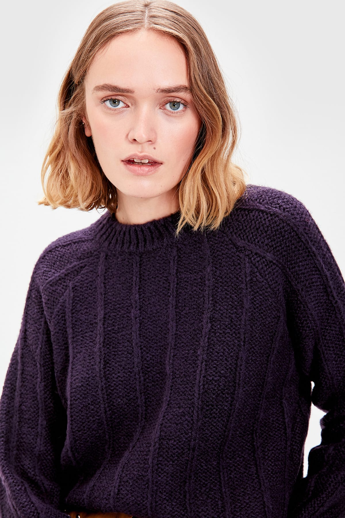 Trendyol WOMEN-Purple Mesh Detailed Knitwear Sweater TWOAW20NV0021