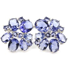 цены Real 5.6g 925 Solid Sterling Silver Elegant Created New Stone Iolite SheType Stud Earrings 20x20mm