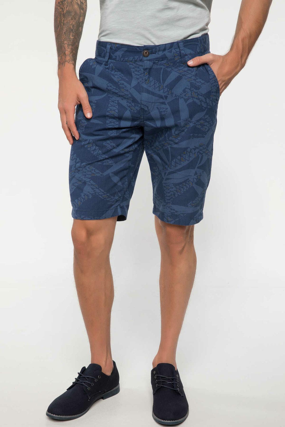 DeFacto Man Summer Dark Color Casual Shorts Men Mid-waist Blue Shorts Bottoms Male Loose Bermuda Shorts-I7573AZ18SM