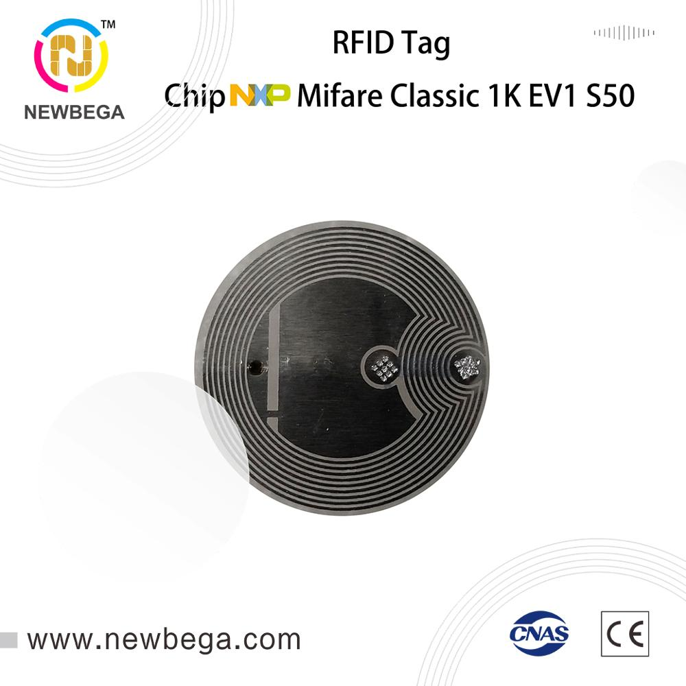 Genuine MF1ICS50--4Byte 10PCS RFID Tags Dry Inlay Diameter 20mm 13.56MHz NFC Tag