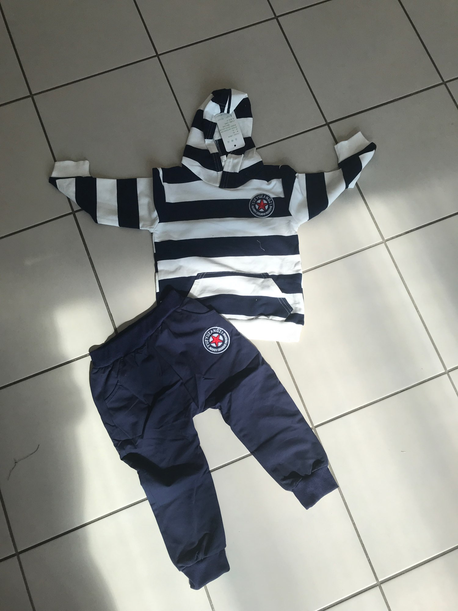 Boys Clothes Set 2021 Spring Autumn Children Striped Hooded Clothing 2pcs Toddler Outfit Sweatshirt 1 2 3 4 Years Kids Tracksuit photo review