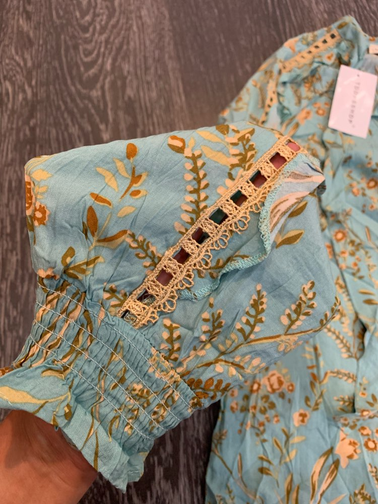 Boho Chic Summer Tops Vintage Floral Print Lace Patchwork Blouses Fashion Bow Tied Long Sleeve Beach Shirts Blusas Mujer photo review