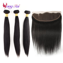 YuyongTai Hair Brazilian Hair Weave Bundles With Frontal Straight Human Hair Non Remy 4 PCS/Lot(China)