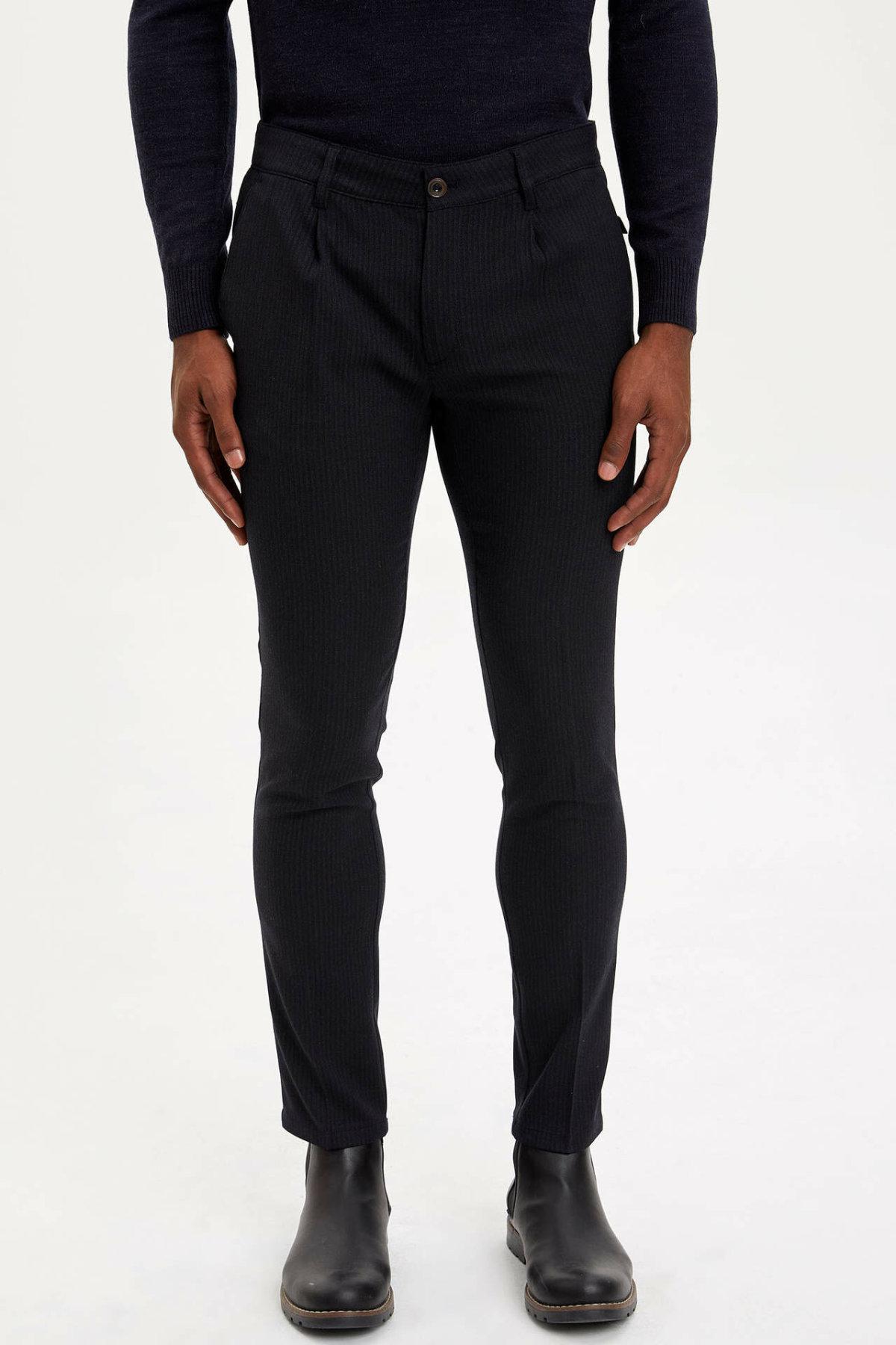 DeFacto Man Winter Smart Casual Long Pants Men Black Bottoms Male Slim Fit Body Pants Men Mid-waist Trousers-M2176AZ19WN
