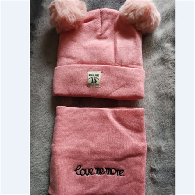 2 Pieces Newborn Baby Solid Color Plush Ball Hat And Scarf Set 2