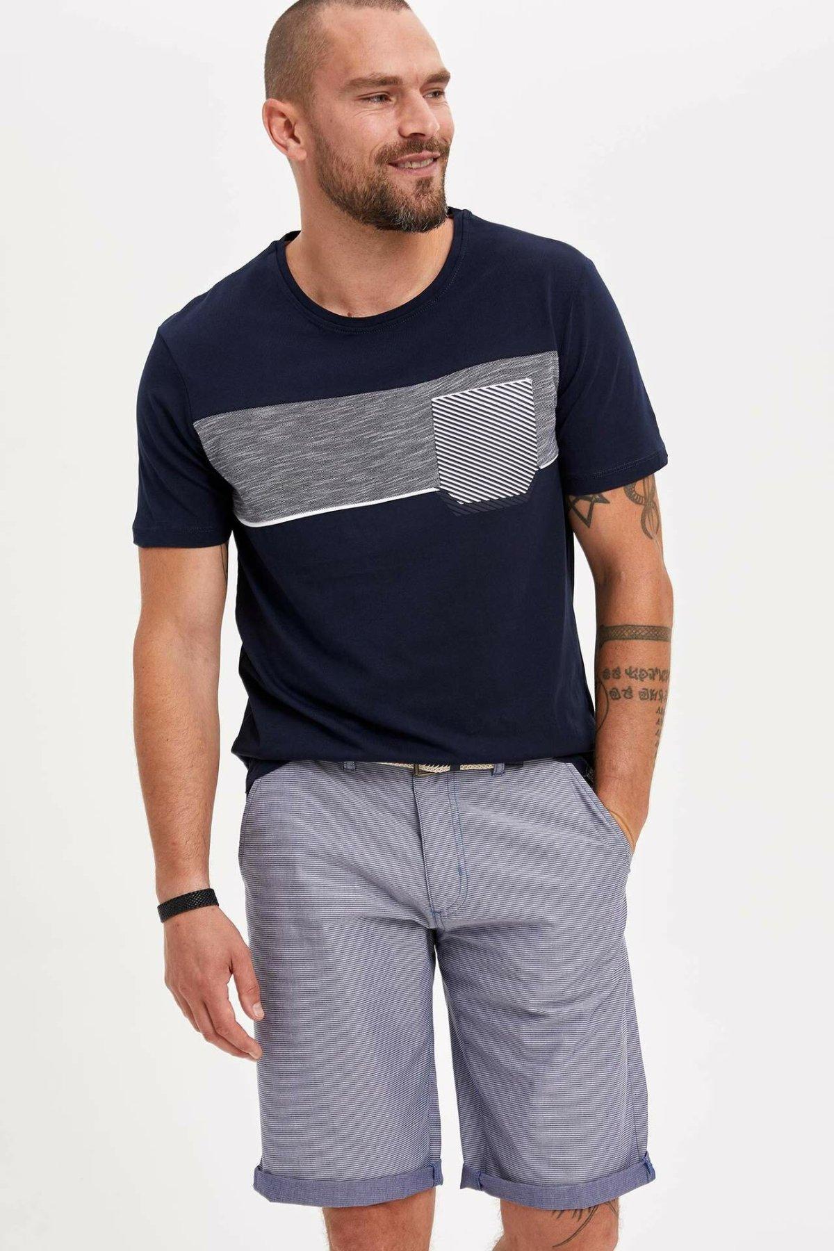 DeFacto Man Summer Light Color Casual Shorts Men Straight Bermuda Shorts Male Casual Shorts-K4197AZ19SM