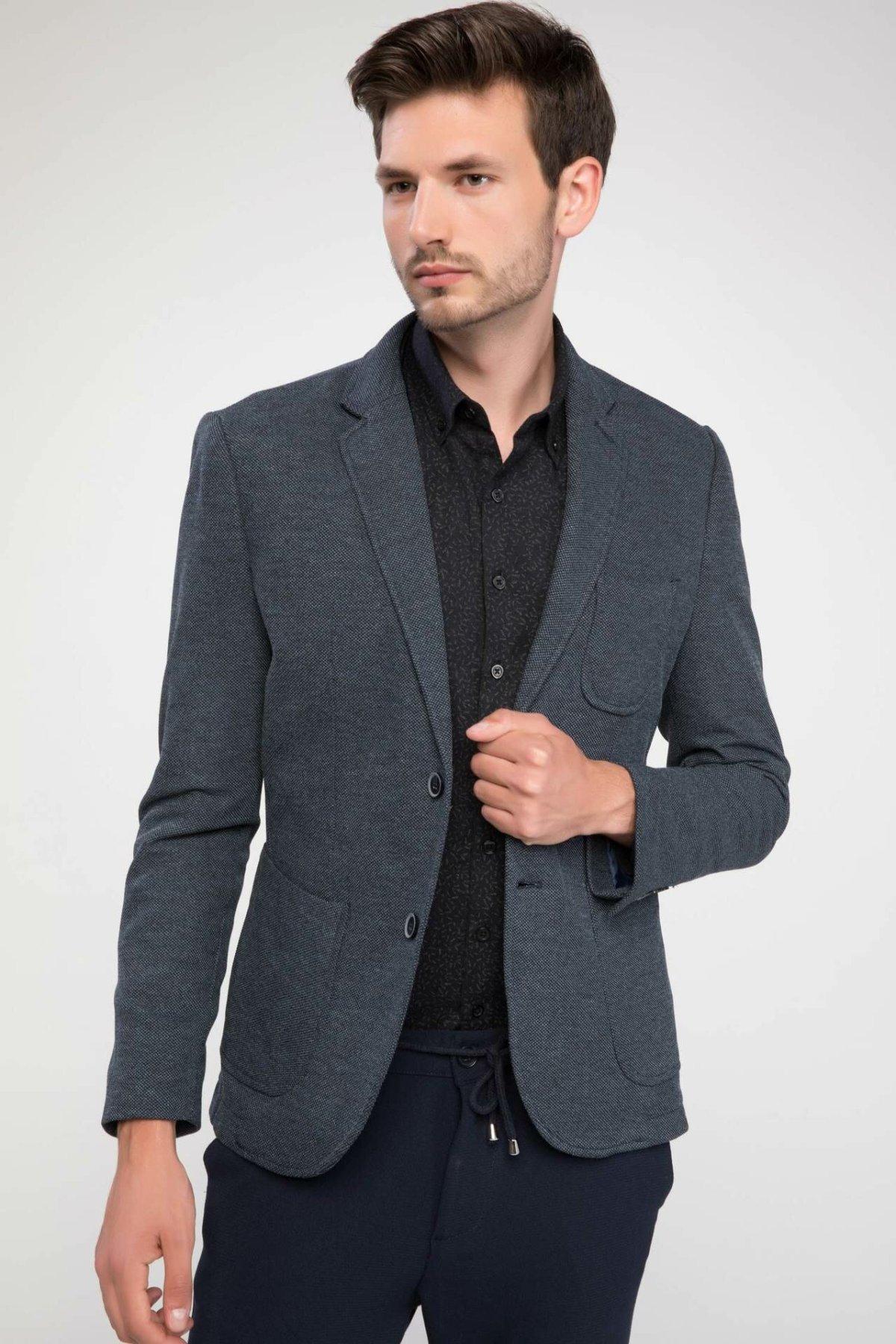 DeFacto Men Formal Business Blazer Outwear Long Sleeve Coat Office Suits Male Fit Top Blazar Suit Cloth-J4201AZ18AU