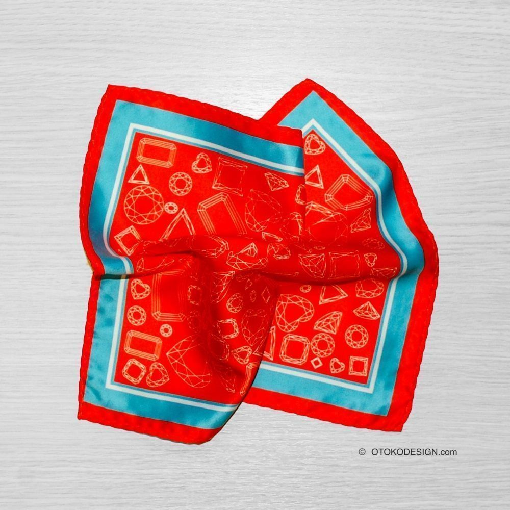 Pocket Square Pasha Of Scarlet Color With Geometric Pattern And Blue Edging (52657)