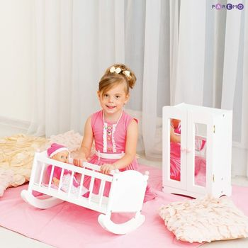 Furniture Toys PAREMO  A set of doll furniture wardrobe + cradle), White color for children toys for kids game furniture dolls doll houses furniture for bed for accessories doll for marie a