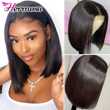 Human-Hair-Wigs Lace-Frontal Remy-Hermosa Short Straight Bob Brazilian for Women 13x5
