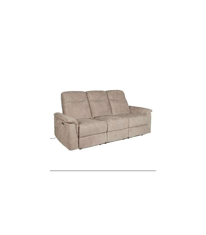 3 Seater Sofa Clover With 2 Relax Electric Fabric Upholstered Elephant Gray