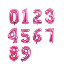 40 inch Big air Pink Balloons Number Happy Birthday Party Wedding Decoration Supplies Kid