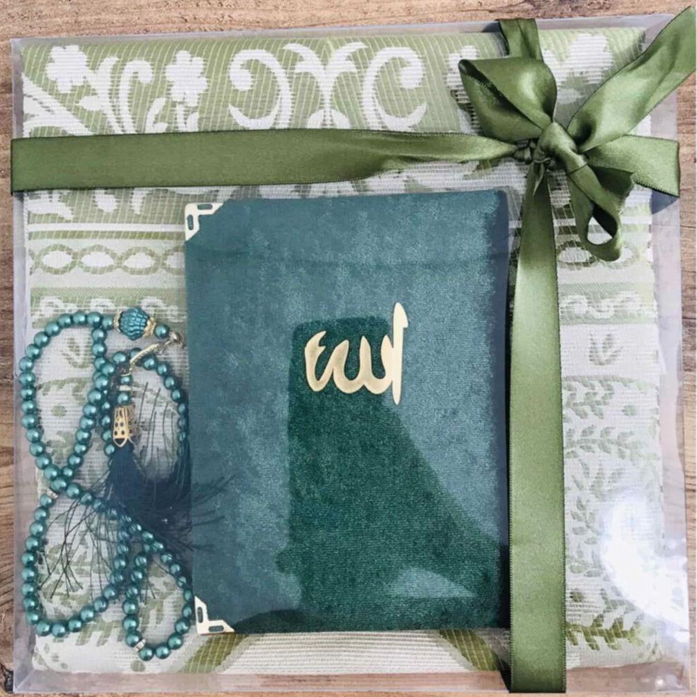 Prayer Rug Set 3 Piece Green Muslim Set Arabic Islamic Mevlüt Umrah Gift Sijadat Prayer Rug Yasin i Şerif