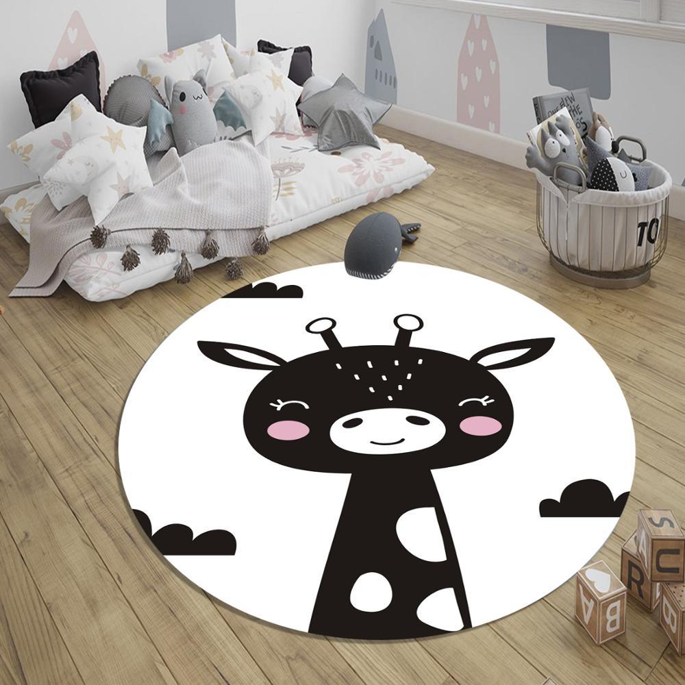 Else Black White  Giraffe 3d Pattern Print Anti Slip Back Round Carpets Area Round Rug For Kids Baby Children Room