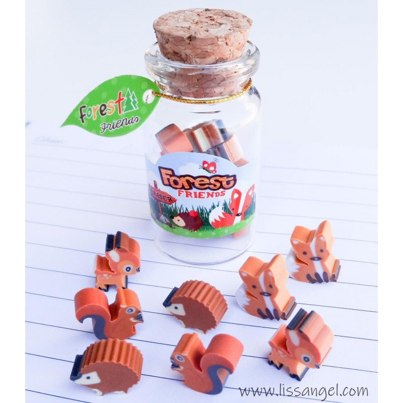 Bottle With Forest Animals Mini Erasers
