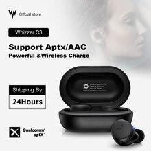 Whizzer APTX سماعة بلوتوث C3 TWS سماعات لاسلكية مع رقاقة كوالكوم ، التحكم في مستوى الصوت ، 36H بلاي تايم الأصلي سماعات الأذن