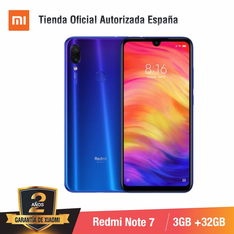 Global Version For Spain] Xiaomi Redmi Note 7 (Memoria Interna De 32GB, RAM De 3GB,Camara Dual Trasera De 48 MP) Smartphone