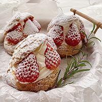 超可爱 零失败 一次就成功的草莓酥皮大泡芙的做法图解31
