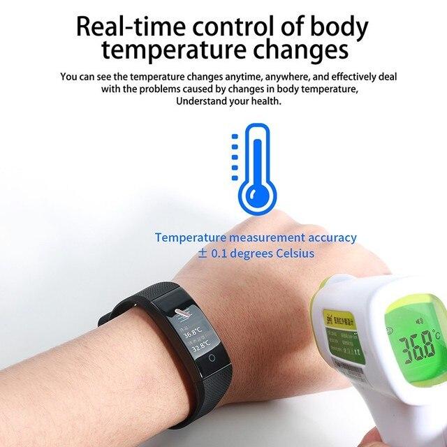 Body Temperature Detection Smart Bracelet Immunity Measure Blood Pressure Heart Rate Fitness Bracelet IP68 Waterproof Russian 4