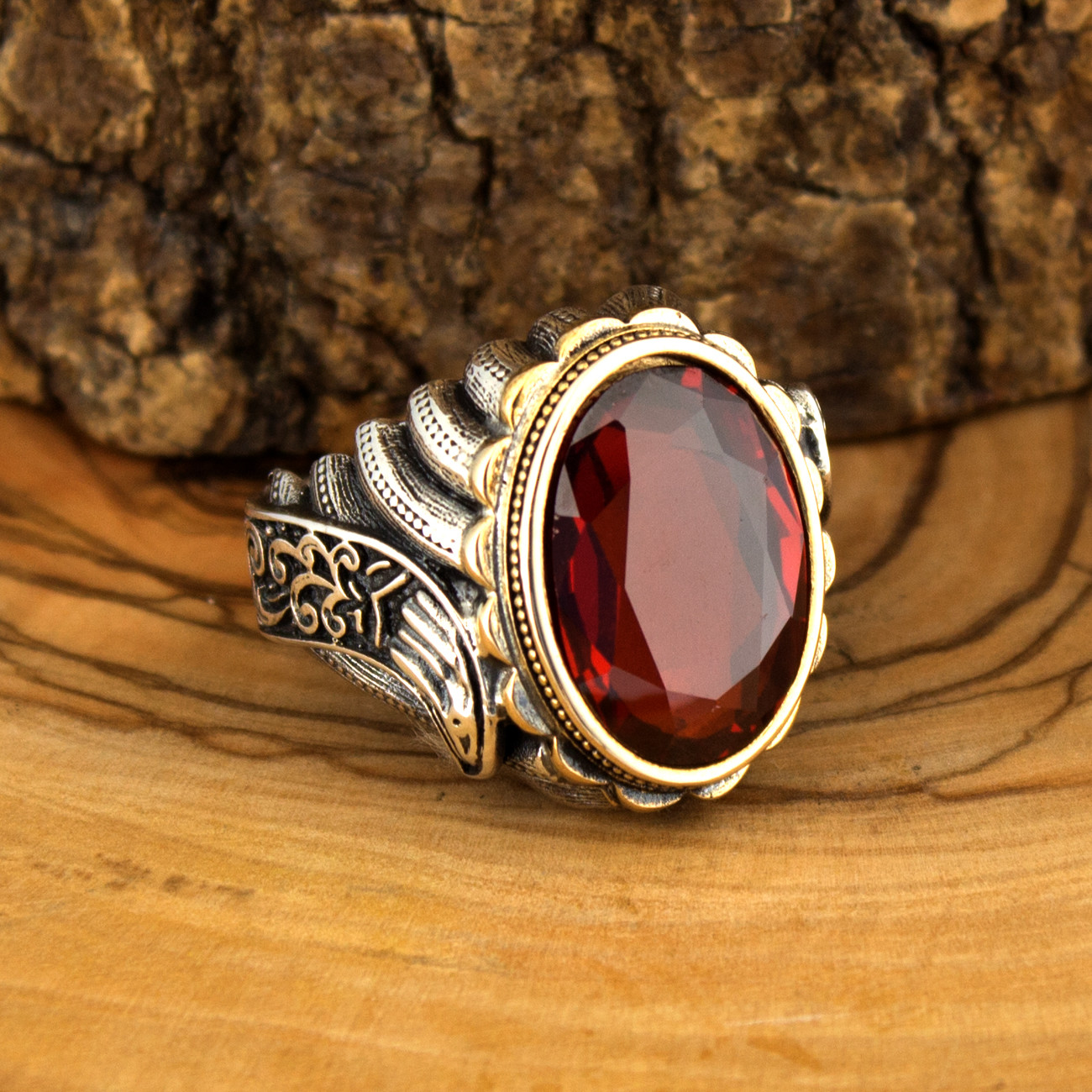 925 Sterling Silver Ring For Men With Red Zircon Stone Jewelry Fashion Vintage Gift Onyx Aqeq Rings All Size Made In Turkey