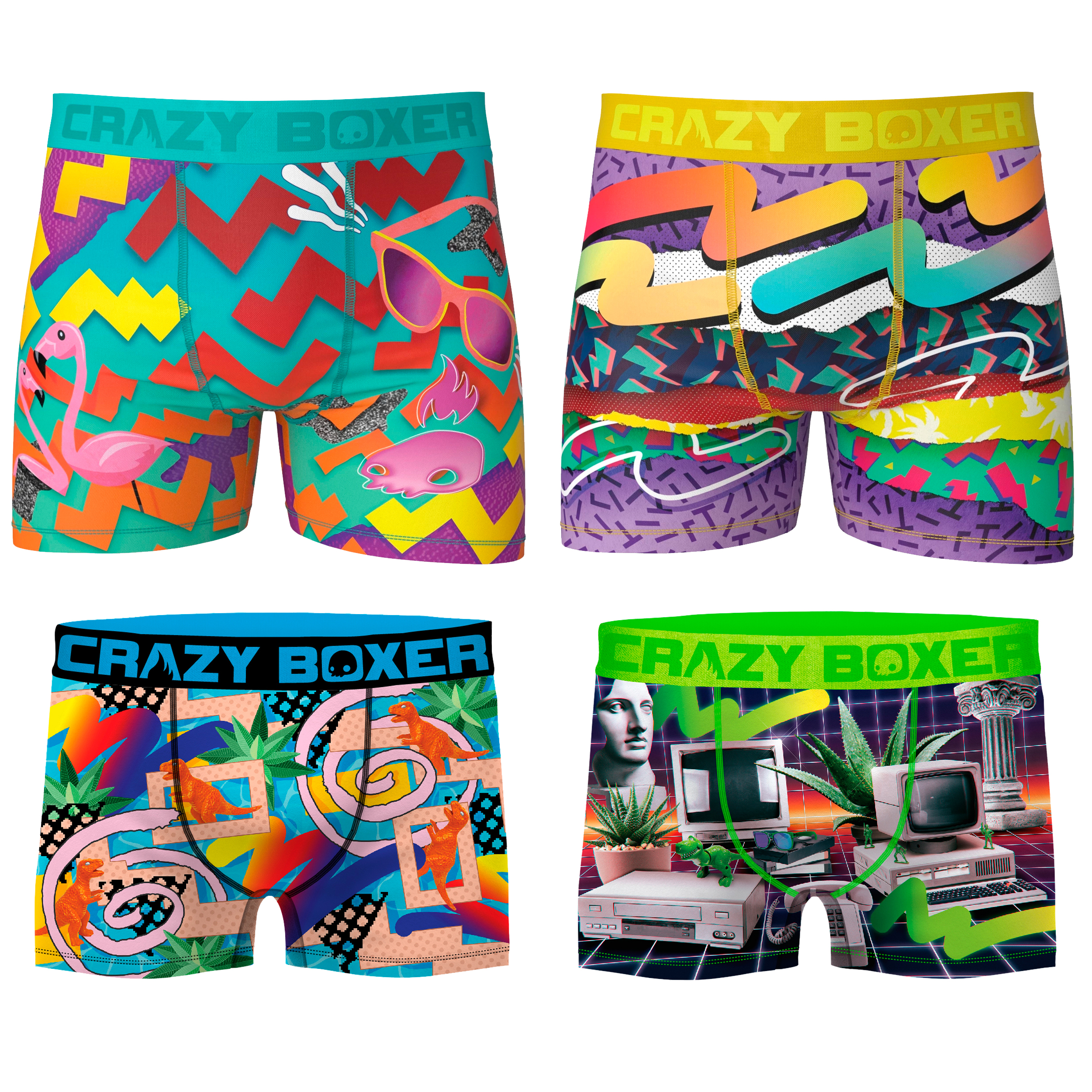 CRAZY BOXER Pack 4 Boxers MENS Boxer Retro