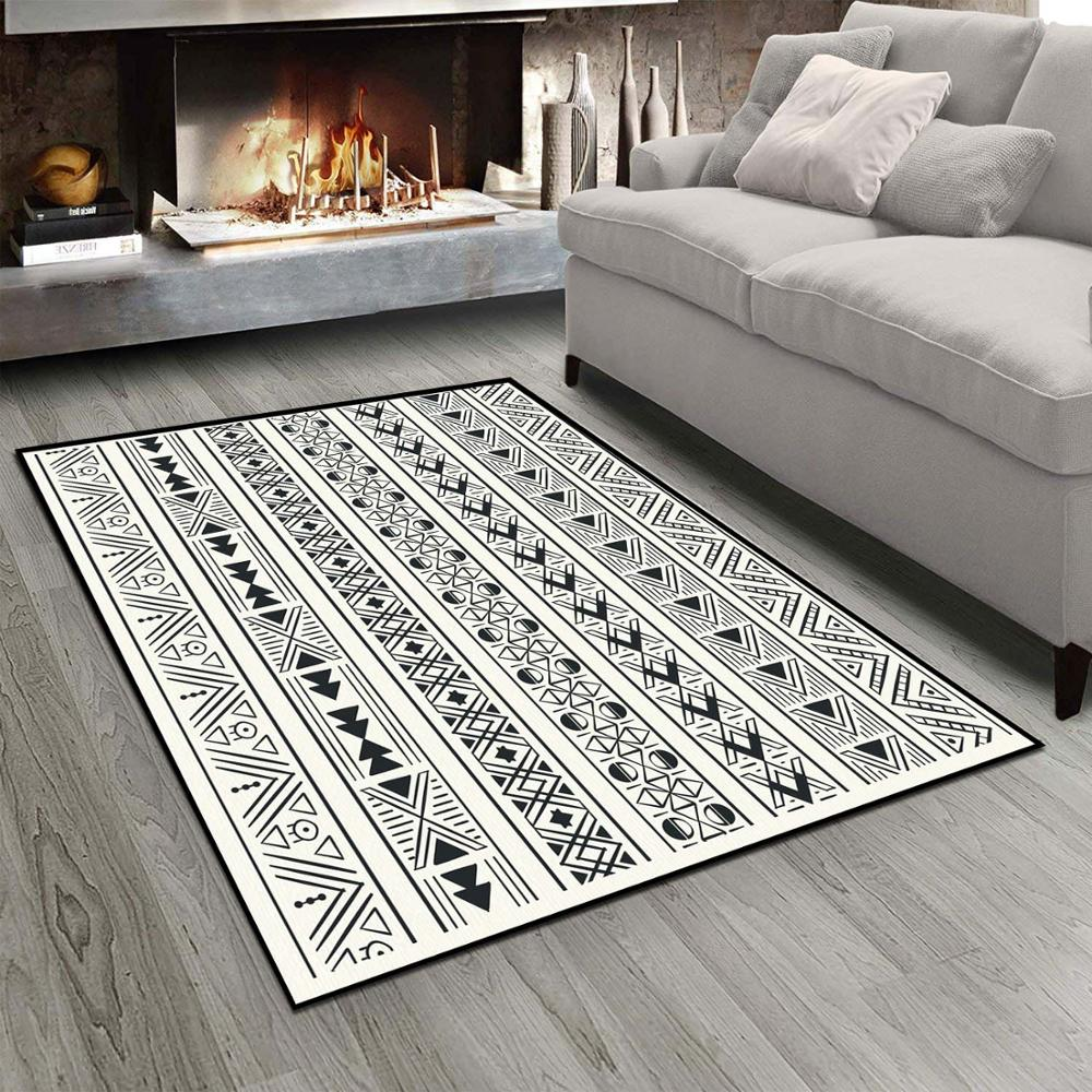 Else Black White Geometric Ethnic Egypt  3d Print Non Slip Microfiber Living Room Modern Carpet Washable Area Rug Mat