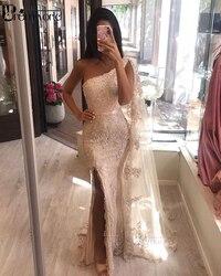 Sexy dentelle sirène robes de soirée 2020 Champagne perles Appliques côté fente une épaule dubaï arabe longue formelle robes de soirée