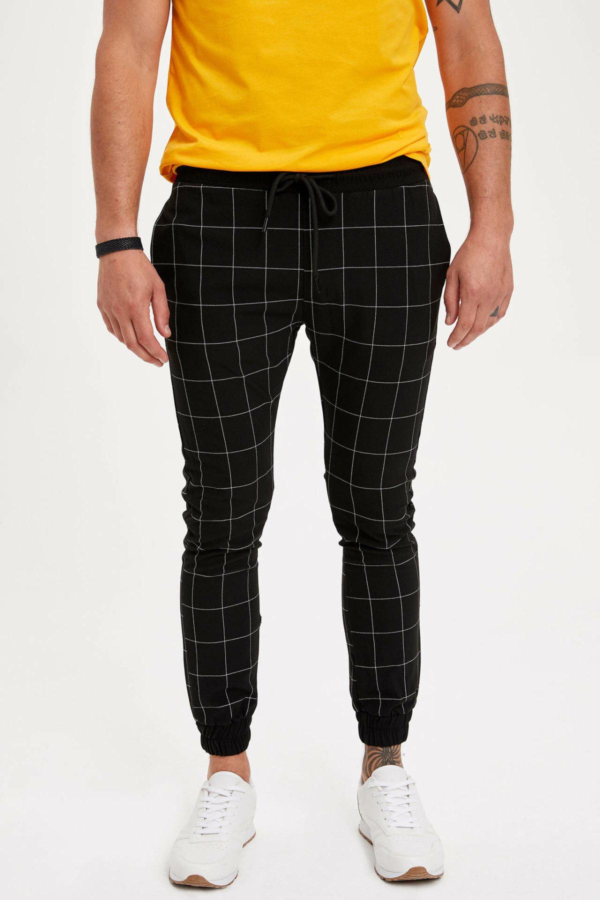 DeFacto Men's Casual Off White Trousers New Fashion Slim Fit Straight Leg Pants Men Brand High Quality Pants L6540AZ19SM