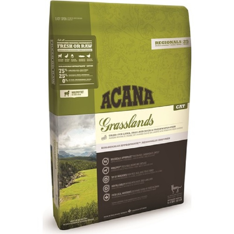Acana Grasslands Adult Cat Food No Grain 5,4 Kg Healthy Growth Feeding Pet Immunity Flora Support image