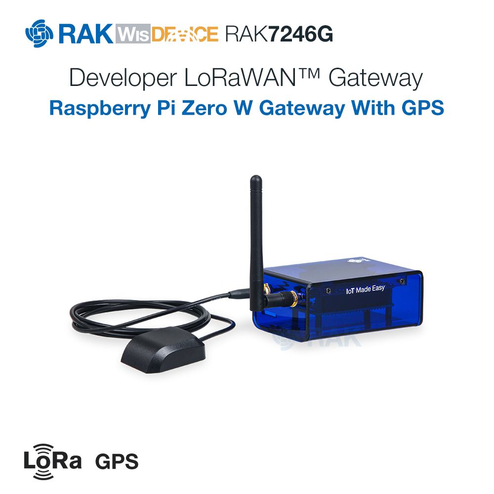 RAK7246 / RAK7246G LoRaWAN Developer Gateway   RAK2246 + Raspberry Pi Zero W   Semtech SX1308   8 LoRa Channels Ublox MAX-7Q GPS