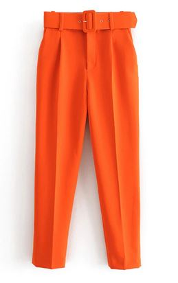 OIL336 Pant Capris With Belt High Waist Yellow A001 Chic Office Lady Pant Trousers Streetwear