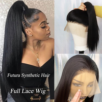 IvyNa Synthetic Full Lace Wigs Natural Black Long Straight Glueless Full Lace Wigs Pre Plucked Futura Japan Heat Resistant Hair