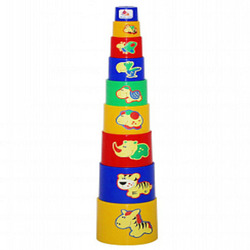 Pyramid for toddlers, cups animal 9 items. New children's educational toys, Tower.