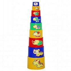 Pyramide für kleinkinder, tassen tier 9 artikel. Neue kinder pädagogisches spielzeug, Turm.