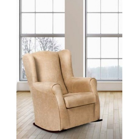 Armchair Rocker One Upholstered In Semi-leather.
