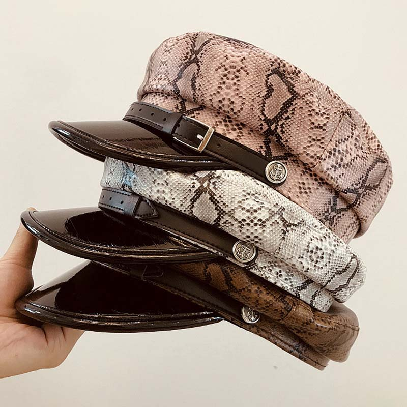 New Fashion Printed Autumn Winter Hat PU Leather Military Cap Belt Trim Newsboy Women Flat Cap Gatsby Ivy Beret Cabbie Cap