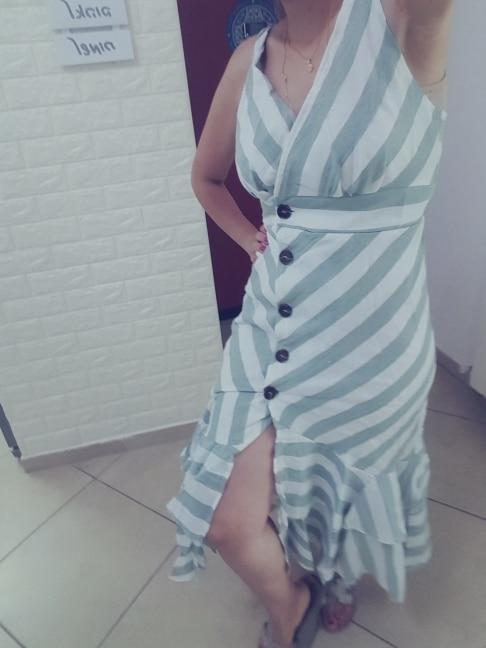Vintage Striped Women Long Dress Summer V Neck Buttons Ruffle Linen Dresses Holiday Sexy Female Beach Dress photo review
