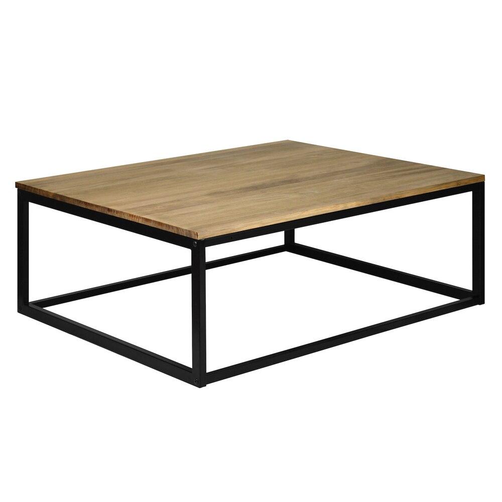 Coffee Table ICub Ndustrial Black 80x70-80x70x37 Cm-Vintage Effect- Black-18mm