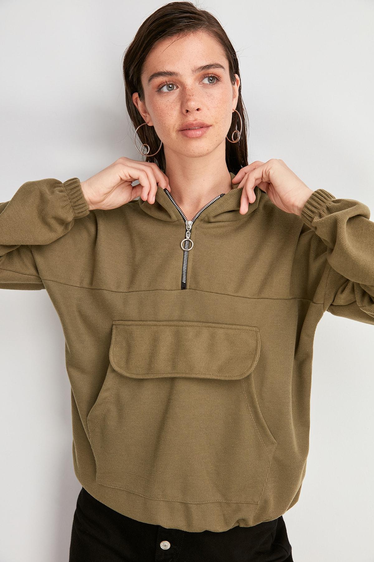 Trendyol Selanik Kangaroo Pockets Knitted Sweatshirt TWOAW20SW0611