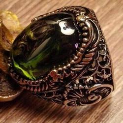 925 sterling Silber Woah Gelb Detaillierte Zirkon Stein Herren Ring