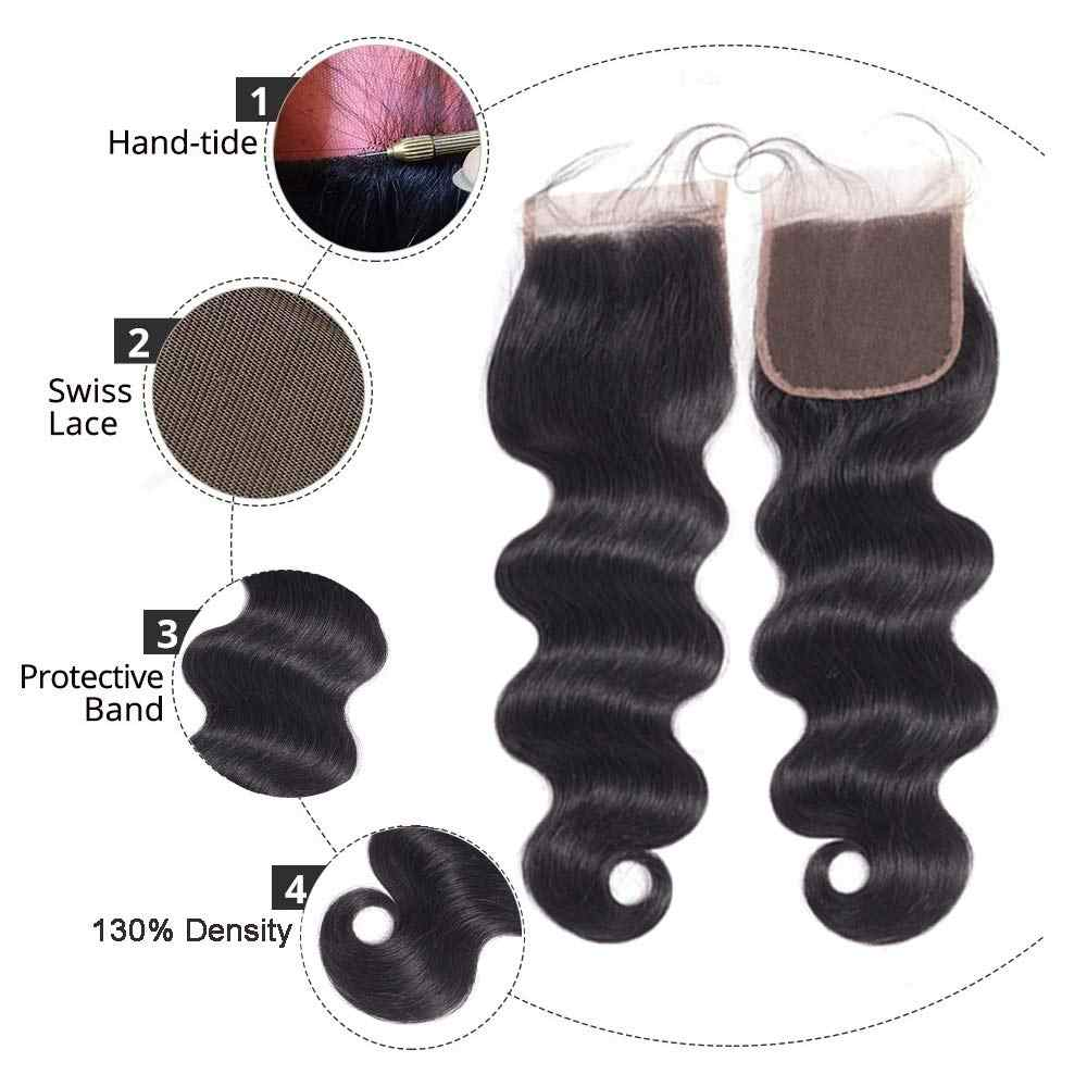 BEAUDIVA бразильские пучки волос с закрытием объемные волнистые пучки с закрытием человеческие волосы для наращивания 3 пучка с кружевной застежкой