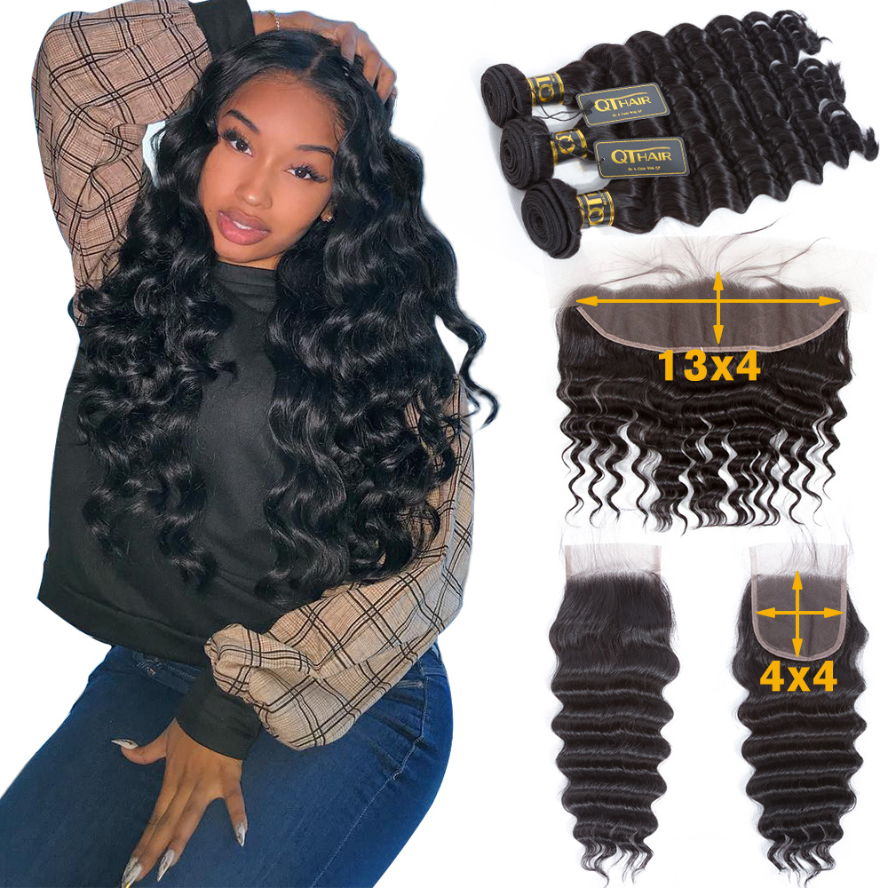 Loose Deep Wave Bundles With Closure Human Hair Bundles With Frontal Brazilian Hair Weave Bundles With Closure QT Remy Hair