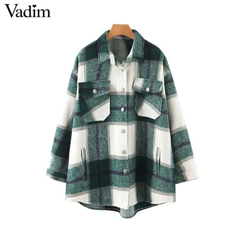 Vadim women plaid oversized jacket checkered pockets loose style long sleeve coat female outwear warm causal tops CA557