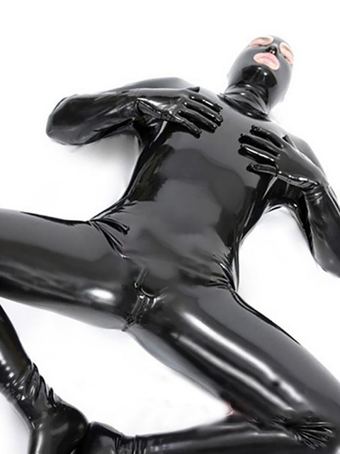LinMe Unisex Footed Unitard Faux Leather PVC Shiny Clubwear Hook Mask Catsuit Full Coverage Wetlook Plus Size Halloween Costumes