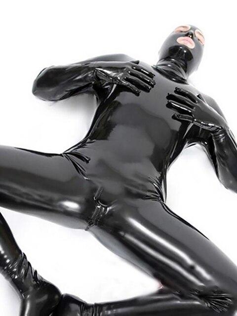 LinMe Unisex เท้า Unitard Faux หนัง PVC เงา Clubwear Hook หน้ากาก Catsuit เต็มรูปแบบ Wetlook Plus ขนาดฮาโลวีนเครื่องแต่งกาย