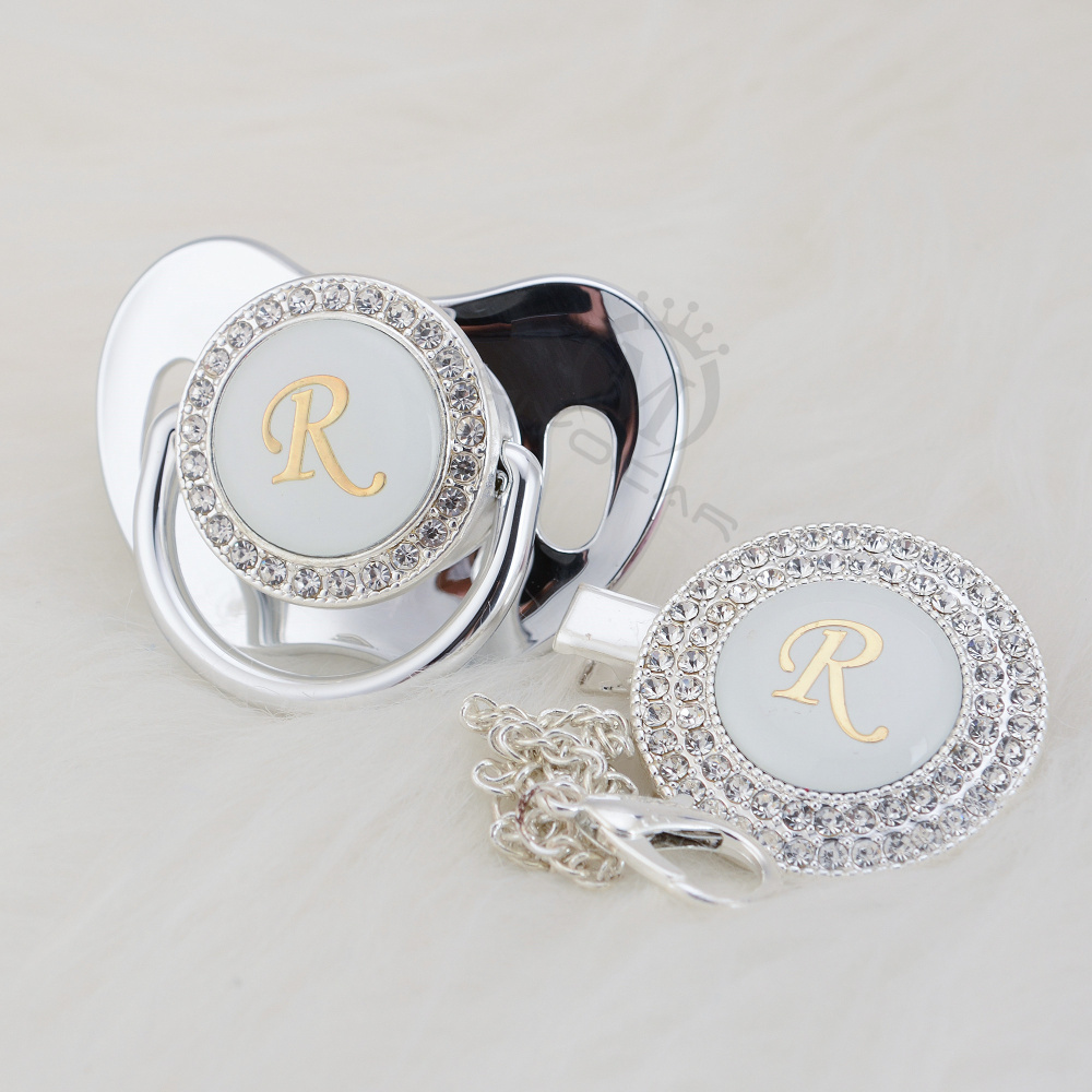 MIYOCAR Silver Initial Letter R Elegant Bling Pacifier And Pacifier Clip BPA Free Dummy Bling Ideal Gift SGS Pass LR-1