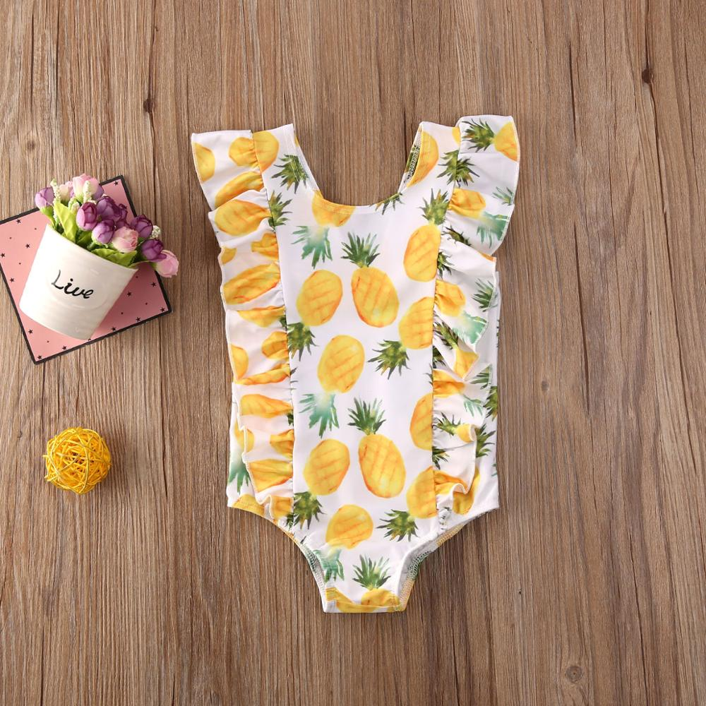 Kid Baby Girl Ruffle Fruit Print Bikini One-Piece Swimwear Swimsuit Bathing Beach Costume Clothes