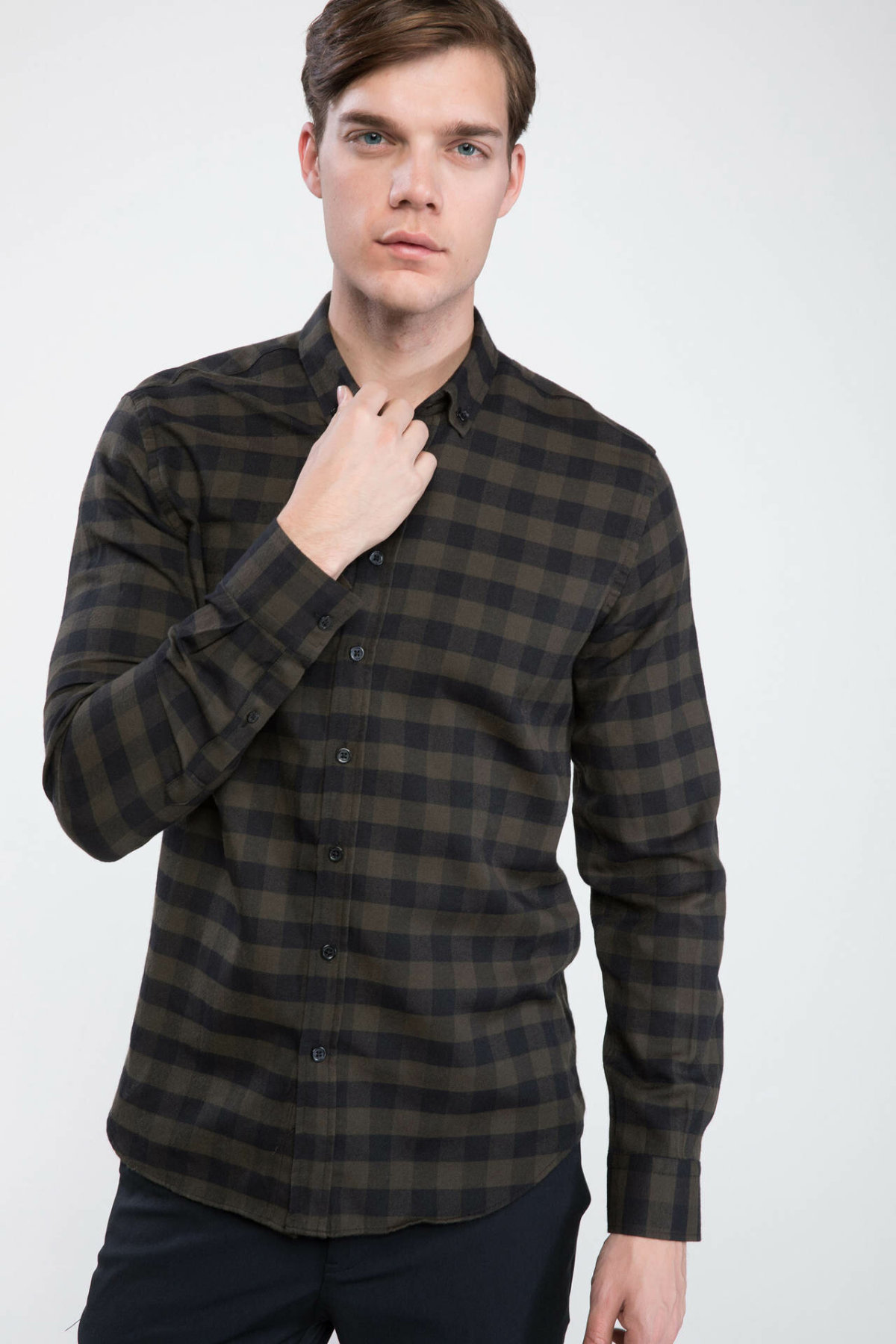 DeFacto Man Plaids Cotton Shirts Men Turn-down Collar Autumn Dark Color Grids Shirts Long Sleeve Top Shirt-J3734AZ18WN