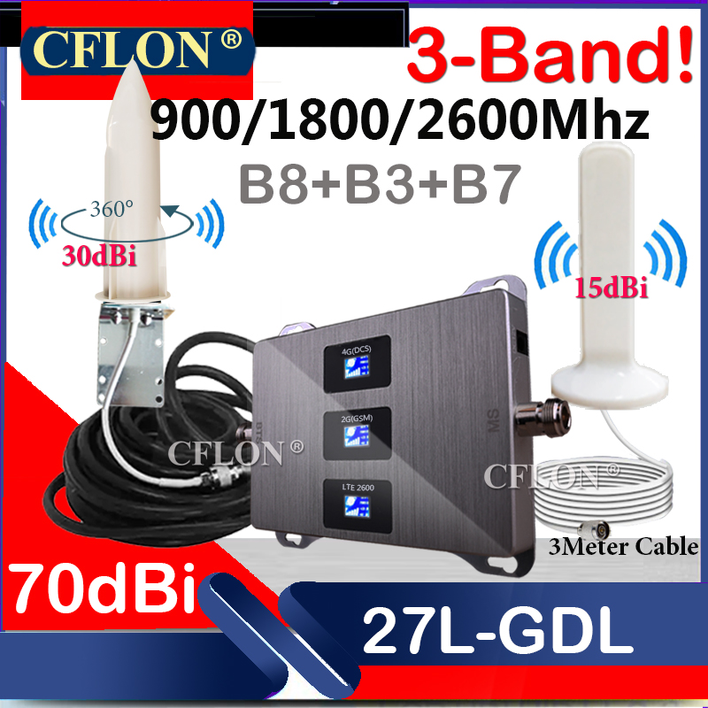 Hot!! CellPhone Cellular Repeater Multi-Band 900 1800 2600Mhz 4G Cellular Amplifier GSM Repeater 2G3G4G Signal Booster